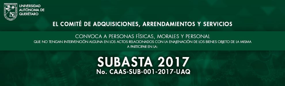 Convocatoria subasta No. CAAS-SUB-002-2016-UAQ